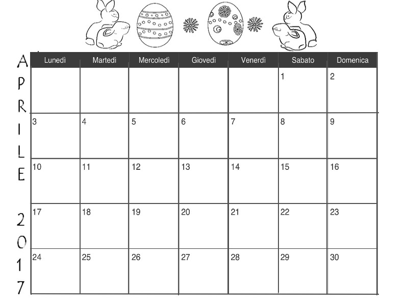 Calendario Da Colorare.Il Calendario Di Aprile Da Stampare E Colorare Italiano E Inglese Crearegiocando
